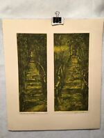 """John Talleur """"Old Stairway - Lakeside 1973"""" Lithograph Signed Art Print"""