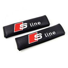 2x Audi Sline Carbon Fiber +Embroidery Car Seat Belt Cover Pad Shoulder Cushion