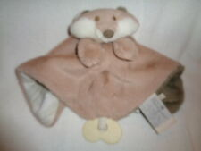 Security Blanket Fox Tan Brown Plaid Nat & Jules Soft Plush Baby Lovey Teether