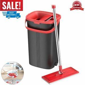 fregona de piso plano y cubo limpieza del hogar casa almohadillas de microfibra