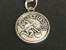 "Zodiac Aquarius Charm Tibetan Silver Necklace 18"" BIN"