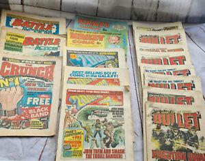 17 various vintage comics - 2000ad, krazy, cheeky, Bullet, battle action