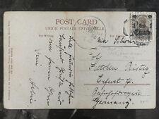 1912 China Kriegsmarine SMS Gneisenau Schiffpost Postcard Cover Erfurt Germany