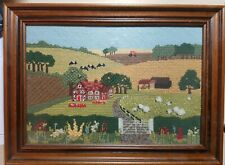 BEAUTIFUL RETRO FRAMED TAPESTRY, COUNTRY SCENE 1970's?  (25x37.5cm approx)