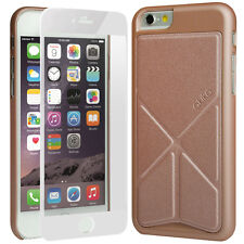 """iPhone 6 6s 4.7"""" Case Hard Leather Cover Rose Gold + 9H Tempered Glass White"""