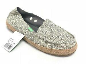 Sanuk Women's Funky Fiona Espadrille Flats 1020250 Grey Tiki Print Slip-On