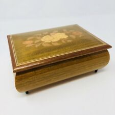 Beautiful Vintage Sankyo Wind Up Music Box Floral Inlaid Plays Dr. Zhivago Mcm