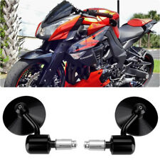 "Black 3""Round 7/8"" Handle Bar End Side Mirrors For Kawasaki Z1000 Z900 Z800 Z650"