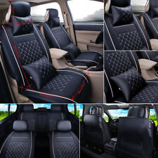 Universal Car Seat Cover PU Leather 5 Seats Rear&Front Cushion Size L All Season