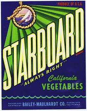Starboard, vintage Texas vegetable crate label, nautical, Bailey-Maulhardt co