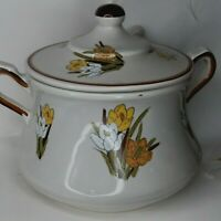 VINTAGE CALIFORNIA POTTERY Adela USA soup tureen with spoon floral