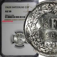Switzerland Silver 1962 B 1/2 Franc NGC AU58  KM# 23 (054)
