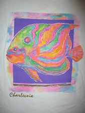 vtg 1990s CHARLEVOIX MICHIGAN T SHIRT Fish Lake DayGlo Marine Angelfish Large