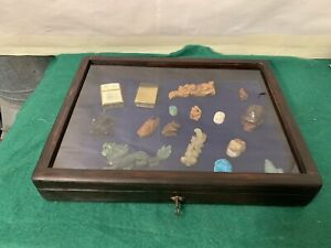 Vintage Wood &Glass Flat Museum Or Shop Style Display Case,curios,jewellery.