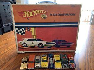 Vintage Mattel HOT WHEELS 1967 24 Carrying Case  8 Car Lot Redliners Red Line