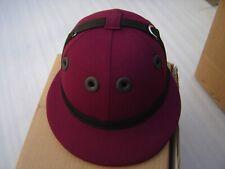 COTTON TWILL POLO HELMET, Horse Ridding Helmet, Safety Helmet Maroon Size M