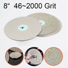 "8"" Diamond Coated Flat Lap Wheel Lapidary Grinding Polishing Disc 46~2000 Grit"