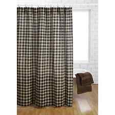 BURLAP BLACK CHECK Shower Curtain Unlined Soft Burlap Cotton Tan