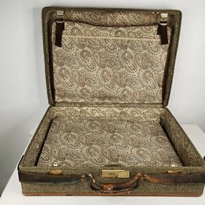 """Vintage Hartmann Tweed Leather Strapped Luggage Suitcase Large Paisley Lined 25"""""""