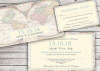 PERSONALISED VINTAGE MAP WEDDING INVITATIONS PACKS OF 10