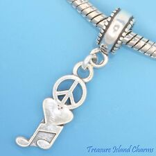 PEACE, LOVE HEART, MUSIC NOTES .925 Solid Sterling Silver EUROPEAN Bead Charm