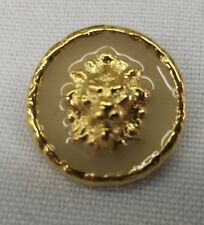 """Gold Metal Buttons with Lion Head and Colored Inlay, 3/4"""": Set of 12"""