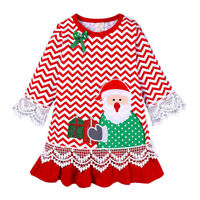 New Toddler Baby Girl Kid Christmas Cartoon Lace Splice Long Sleeve Dress Outfit