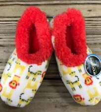 L 9-10 Snoozies Lions Tigers Soft Slippers Shoes Foot Coverings Women NEW