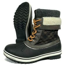ALEADER Women's Waterproof Winter Snow Boots Black/Brown/Grey Size 11