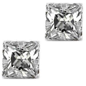Pierced Clear Square Sparkling CZ Cubic Zirconia Stud Earrings For Men Women