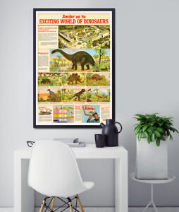 """1967 Sinclair Oil's """"Exciting World of Dinosaurs"""" Brochure POSTER! - Classic Car"""