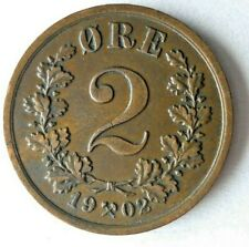1902 NORWAY 2 ORE - AU/UNC - RARE High Value Coin - Lot #Y2