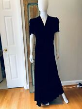 Vintage 1930s 1940s Black Silk Velvet Bias Gown Dress Shirring Sleeves bodice