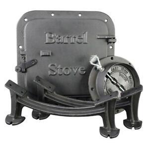 Barrel Stove Kit Cast Iron Portable Wood Burning Heater Drum Cabin Shop 55Gal