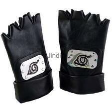 Anime Naruto Kakashi Fingerless PU Leather Gloves Ninja Fans Cosplay Props
