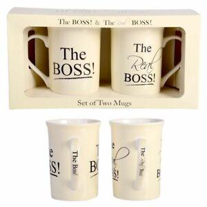The Boss and The Real Boss Coffee Mug Set Wedding Engagement Anniversary Gift