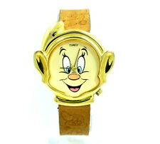 Vintage 1980's DOPEY HEAD Gold Toned DISNEY SNOW WHITE 7 DWARFS BAND Timex Watch