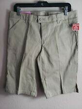 French Toast Girls' Twill Bermuda Short Gray Size 18 Plus  Adjustable waist