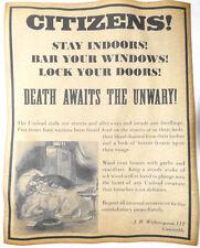Vampire Warning Poster, Halloween Decor, 8-1/2 x 11, party