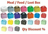 Coloured Party Boxes Children Kids Food Loot Lunch Gift Bags Birthday Box Bags