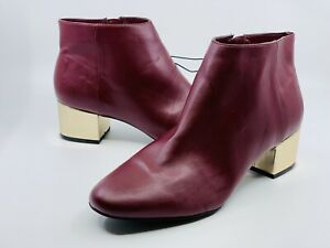 Andrew Marc Women's Booties Ankle Boots Burgundy Block Gold Heel New York Sz 10