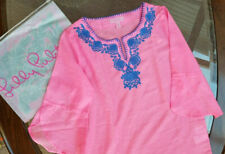 Lilly Pulitzer Girls Mini Piet Cover Pink Sunset Navy Embroidery  L 8 10 06048