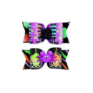 Dog Hair Bows- Halloween Witch Glitter Spiders Pet Witch Elastics or Barrette