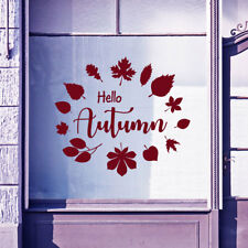 Hello Autumn Time Greetings Vinyls Shop Window Display Wall Decals Stickers B21