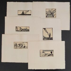 Set Of 6 Small Allen Lewis Woodblock Prints All Signed In Pencil