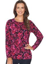 Denim & Co. Plus 2X Watercolor Floral Printed Long Sleeve Top Raspberry Pink