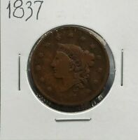 1837 Coronet Liberty Head US Large Cent 1c Ch Circulated Small Letters Variety
