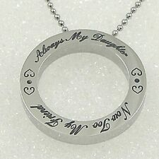 Always my Daughter Friend Necklace Stainless Steel Round Pendant Mother Father