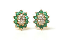 9ct Gold Emerald and CZ Cluster studs earrings Made in UK Gift Boxed