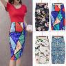 Women Boho Stretch Floral Bodycon High Waist Pencil Office Dress Midi Slim Skirt